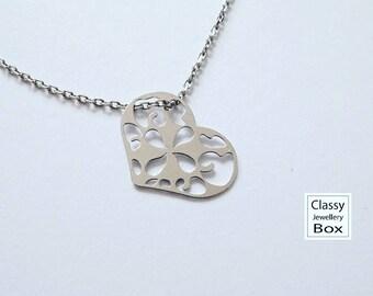 Heart celebrity necklace, 925 Sterling silver, heart pendant, heart necklace, jewelry, jewelry gift, sterling silver jewelry, gift,handmade