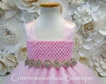 Baby Pink Rhinestone Flower Girl Tutu Dress-Light Pink Tutu Dress-baby Pink Tutu.Flower Girl Tutu-Baby Pink Tutu