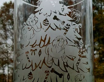 Bulldog Puppy Christmas Tree Vase