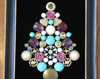 Framed Christmas Tree Jewelry Art. Unique vintage and costume jewelry in a 3D design.