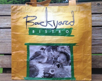 Recycled Feed Bag Tote, reusable tote bag, grocery tote, recycled shopping bag, reusable grocery bag, recycled tote bag, Backyard birds