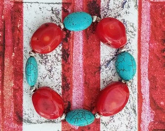 Handmade Red Glass and Turquoise Dyed Howlite Stretchy Bracelet