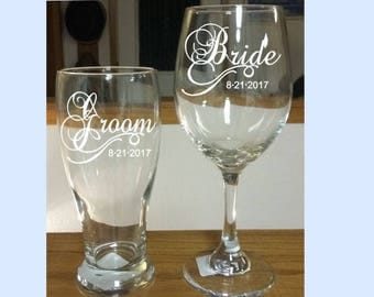 Bride and Groom Set, Bride Wine Glass, Groom Pilsner Glass