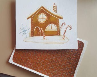 Gingerbread house pattern gingerbread - gouache paints