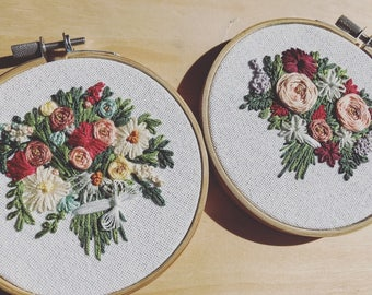 Floral Embroidery Hoop Art | Wedding Bouquet | Bridal Bouquet