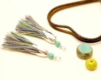 2 PomPoms, purple, Turquoise, Khaki, Turquoise bead, Tassel, silver