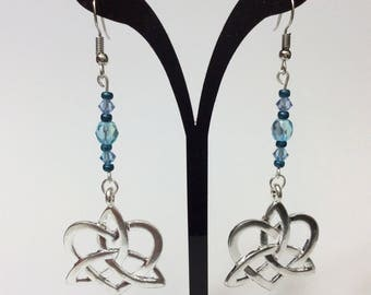 """Earrings """"Celtic knot and blue beads"""""""