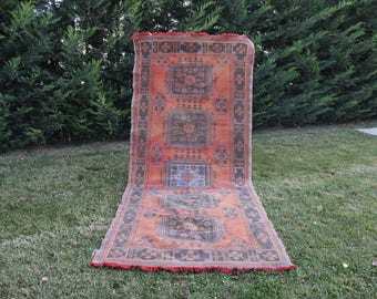 Free Shipping Vinatge Turkish Runner Rug 4.6 x 11.3 feet Home Decor Floor Rug Vegetable Dyed Aztec Rug Unique Rustic Rug Area Rug DC978