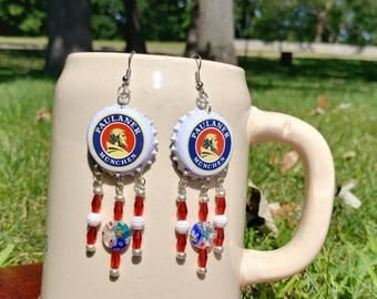 Paulaner Munchen beer bottle cap earrings with red and white millefiori glass beads