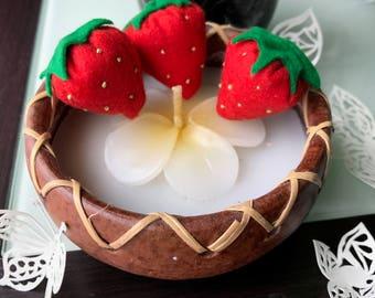 洗えるおもちゃ 6個入りパックのイチゴ!Washable felt strawberries (6 in one pack)