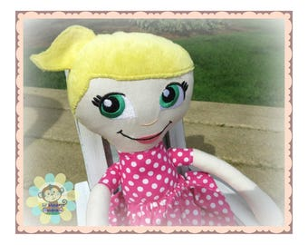 Yellow Blonde Pigtail Haired/Green Eyed/Bright Pink Polka Dot Dress Soft Sculpture Doll