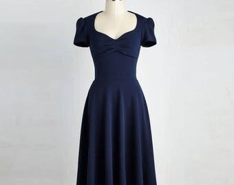 Navy Blue Vintage Dress Size Small