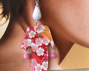 Kimono, Japanese washi paper earrings, colourful, lightweight, spring/summer 2018