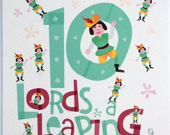 Ten Lords Leaping Hand-lettered Print