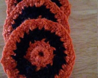 Black and orange coasters
