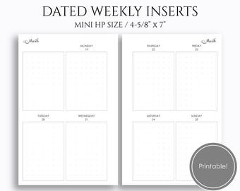 "Jan-Mar 2018 Dated Weekly Printable Planner Inserts, Q1, Vertical WO2P w/ Columns, Dot Grid, PDF ~ Mini Happy Planner / 4.6 x 7"" (WVC2)"