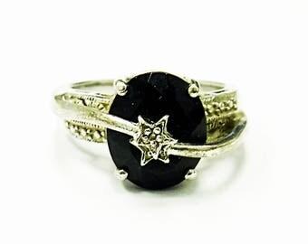 Very Nice Sterling Silver Black Onyx & Diamond Floating Star Ring