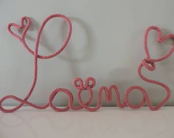 Initials Laena knitting pink 5 letters + heart