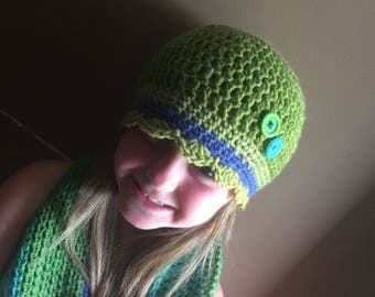 Crocheted Beanie and Matching Scarf