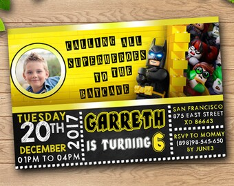 Lego Batman Birthday Invitation/Lego Batman Berthday Invite/Lego batman Invitations/Lego Batman Birthday Party/Batman Lego Invitation/Batman