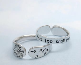 "Inspirational Ring, Cute Jewelry for Her, Inspiration Gift Mom, Dandelion Ring, Jewelry to Inspire, ""This too Shall Pass"" Boho Band"