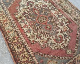 Oushak Rug, Vintage Rug, Turkish Rug, Vintage Turkish Rug, Area Rug, Handmade Wool Anatolian Rug, 7.2 x 4.3Feet