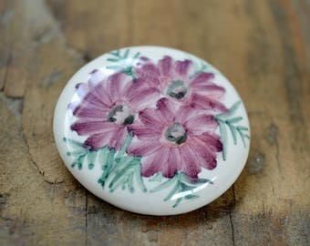 Vintage Ceramic Brooch, Floral Brooch, Hand Painted Flower Brooch, Gifts for Her, Wedding, Festival Accessories
