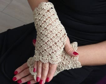 Summer gloves romantic beige lace crochet