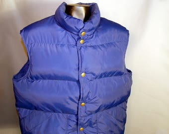 80s LL Bean Blue Goose Down Lined Vest Sz Medium Snap Button Ski Hunting FIshing Camping Retro 1980s Navy Primary Color 70s Marty McFly
