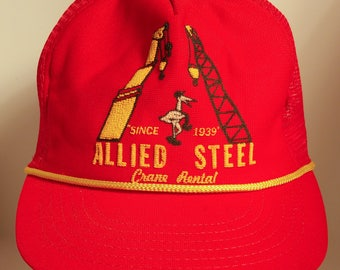 70s Allied Steel Crane Rental Red Mesh Trucker Snapback Hat Oklahoma Rare Industrial Construction Worker Promotional Material Agriculture OK