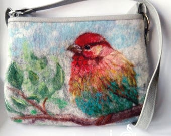 Felt Handbag Bird Picture Art Shoulder Zippered Small Bag Womens Wool Purse With Lining Faux Leather Statement Unique Woodland Wool Natural