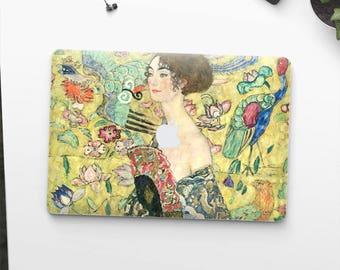 """Gustav Klimt, """"Woman with a Fan"""". Macbook Pro 15 skin, Macbook Pro 13 skin, Macbook 12 skin. Macbook Pro skin. Macbook Air skin."""