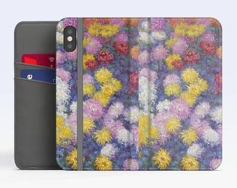 "Claude Monet, ""Chrysanthemums"". iPhone X Wallet case iPhone 8 Wallet case  iPhone 7 Plus Wallet case. Samsung Wallet cases."