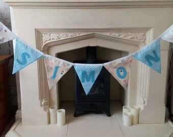 Personalised Beatrix Potter Peter Rabbit Fabric Bunting Boys Girls (per letter)