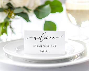 Wedding Place Card Template, Printable Place Cards, Wedding Table Numbers, Calligraphy Wedding Place Cards PDF Template Instant Download