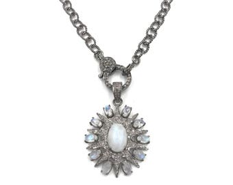 Short diamond rainbow moonstone star necklace, Sterling silver necklace, Pave diamond jewelry, Diamond pendant, Moonstone necklace
