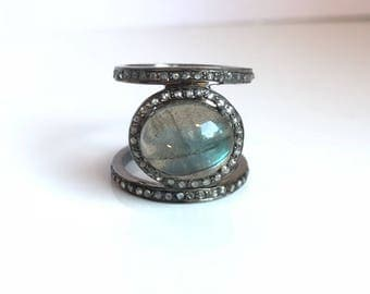 Sterling silver labradorite diamond stacked ring