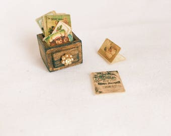 Miniature Christmas cards in miniature wooden box-Handmade miniature Christmas ornaments 1:12 Shabby Chic /Vintage/Antique/French/Victorian