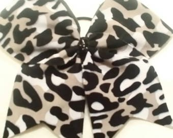 Black gray cheetah camo look cheer bow