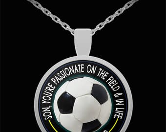 From Dad to Son Soccer Necklace
