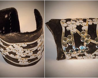 Chrome and Leather Post Apocalyptic Punk style Cuff Bracelet