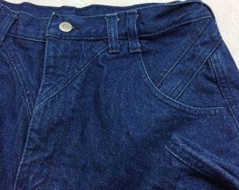 Vintage WRANGLER High Waist No Pocket Bare Back Mom Jeans Sz 13/14 x 36 -AC17