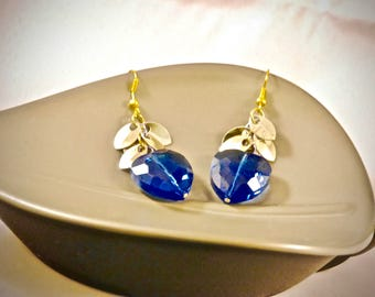 Faceted Blue Heart Earrings with Gold Scales