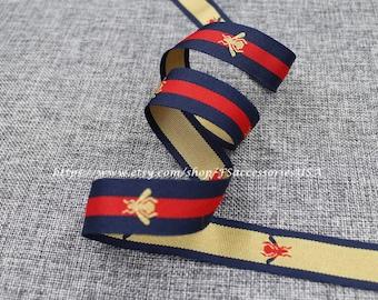 Red Navy Blue 0.9'' Ribbon Bee Ribbon Striped Ribbon Grosgrain Single Faced Trim Choker Ribbon Belt Trim DIY #R1