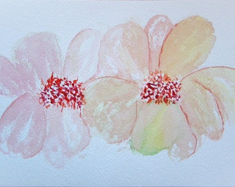 Flower Painting Abstract Painting Watercolor Flowers Floral Painting Original Watercolor Painting Orange Flowers