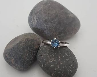 Blue Montana Sapphire solitaire ring
