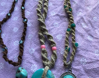 Turqoise Stone Hemp Necklaces