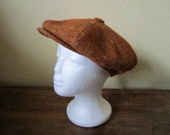 Vintage Mens Newsboy Hat. Womens Newsboy Cap. Baker Boy Hat. Paper Boy Hat. Driver Hat. Rust Brown Wool Hat. Peaky Blinders Hat. Cabbie Hat.