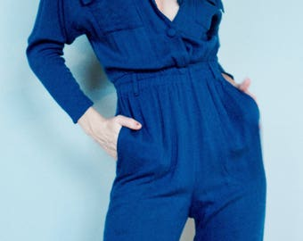 Womans Clothing, Blue Linen trouser Jumper, Overalls, Coveralls,Long Sleeve, Blue Button Up One piece, 90s Knitwear, Knit Jumper, Small