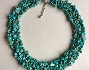 "Southwestern Natural Blue Turquoise Huge 18"" Multi Strand Beaded Statement Necklace Sleeping Beauty Robbins Egg Blue"